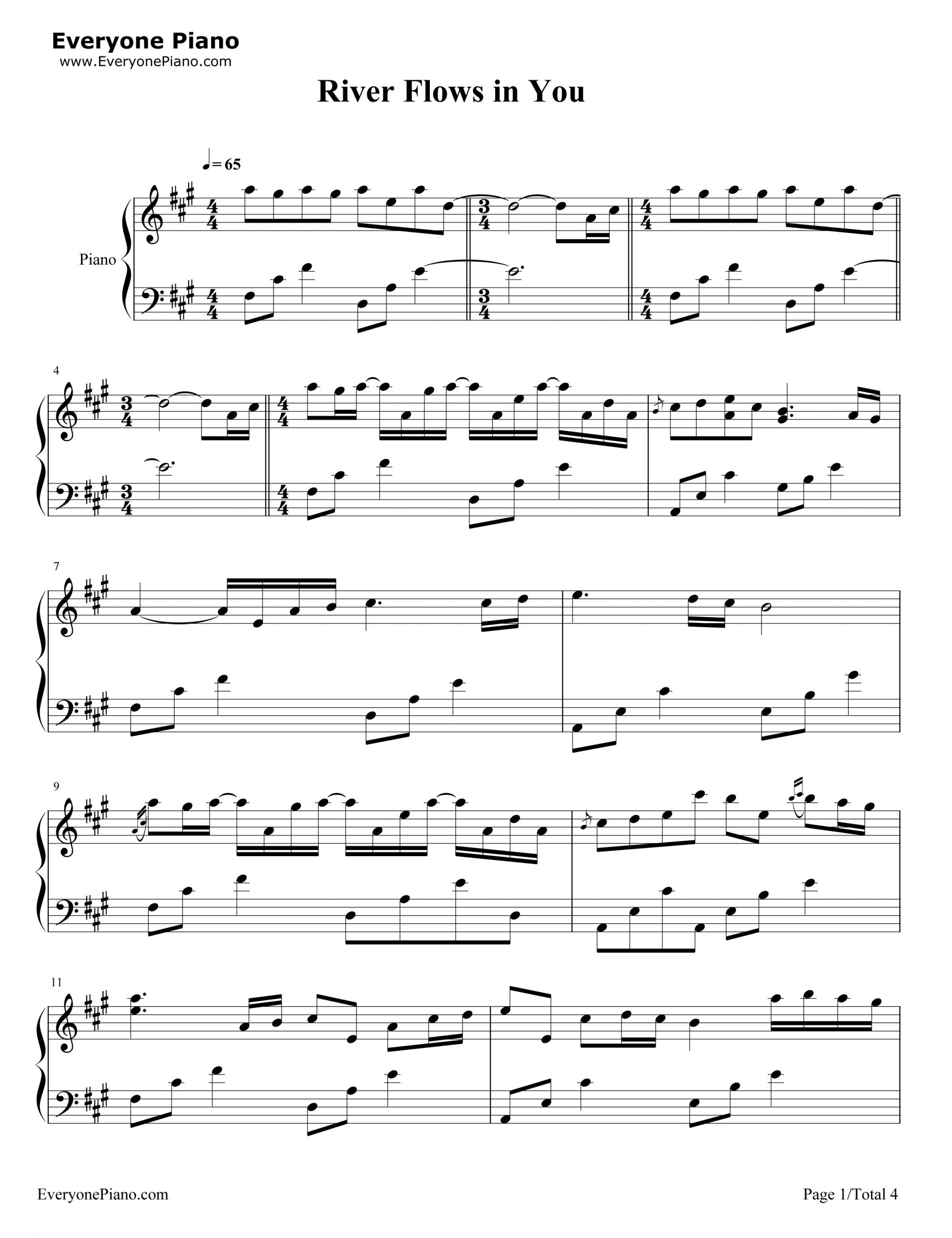 Sheet nhac river flow in you piano 01